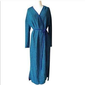 NWT Zara Blue Shimmer Maxi Wrap Cocktail Dress